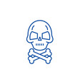 skull with bones line icon concept skull with vector image vector image