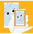 Smiling smartphone taking self-snapshot vector image vector image