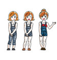 sweet little girls standing wearing fashionable vector image vector image