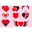 The collection of red hearts vector image vector image