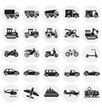transportation icons set on color circles vector image