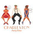 two flapper girls and one man dancing charleston vector image vector image