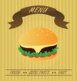 Vintage Hamburger Fastfood Menu vector image vector image