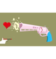 Arms of love Magnum love Colt Gun shoots hearts vector image vector image