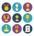 awards trophy medals and winning ribbon success vector image vector image