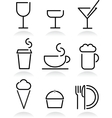 beverage and food set icons on white vector image vector image