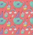 birthday seamless pattern cute greeting vector image