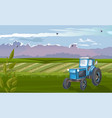 blue tractor in green field at daylight vector image vector image
