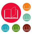 book page icons circle set vector image