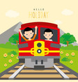 boys go to travel by train at countryside vector image vector image