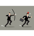Businessman try to shoot at apple on colleague vector image vector image