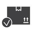 carton box with check mark glyph icon vector image vector image