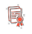 cartoon certificate icon in comic style diploma vector image vector image