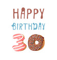 cartoon donut hand drawn card vector image