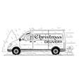 cartoon of driver of generic van with christmas vector image vector image