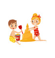 children building castle from sand cute boy and vector image