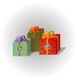 Christmas volume gift boxes vector image vector image