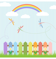 Colorful dragonflies and rainbow vector image