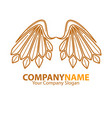 company name emblem with angel brown wings vector image vector image