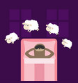 cute lazy sloth sleeping mask jumping sheeps vector image vector image