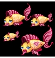 Cute yellow fish with lips-bow and blue eyes vector image