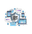 data safety cloud shield tablet padlock over vector image vector image