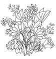 decorative black and white flowers vector image vector image