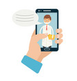 doctor online hand holding vector image