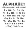 english alphabet numbers and symbols vector image