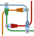 ethernet cables of various colors with long wires vector image