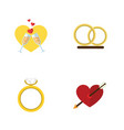 flat icon amour set of engagement ring vector image vector image