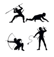 four ninja silhouettes vector image