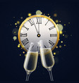 happy new year with champagne glasses clinking vector image