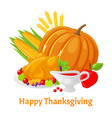 happy thanksgiving poster with pumpkin vector image vector image