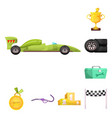 isolated object of car and rally sign collection vector image vector image