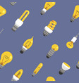light bulb seamless pattern color lamp background vector image