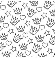 line metal crown with heart and star background vector image