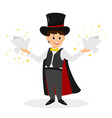 magician with hat and white doves vector image vector image