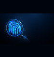 magnifying glass over fingerprint from lines vector image
