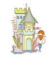 mermaid man with castle vector image vector image