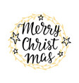 merry christmas greeting card hand lettering vector image vector image