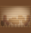 mock up realistic wood and wine glass shadow vector image vector image