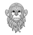 monkey doodle coloring book page antistress vector image vector image