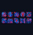 neon party icons dance music karaoke light signs vector image