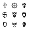 Protective shield icons set simple style vector image vector image