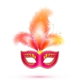 Red isolated carnival mask with feathers vector image vector image
