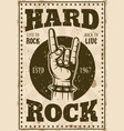 rock music vintage poster with horns hand vector image