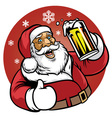 santa claus enjoy a glass of beer vector image vector image