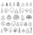 set green doodle sketch trees on white vector image