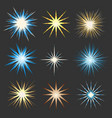 set of flashes and stars vector image